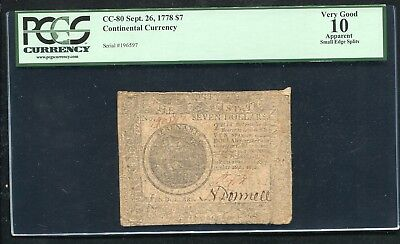 Cc-80 September 26, 1778 $7 Seven Dollars Continental Currency Pcgs Vg-10