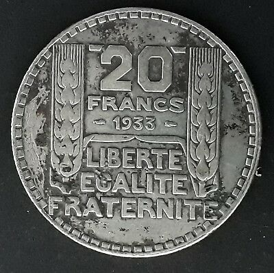 1933 France 20 Francs Silver (.68) coin Marianne