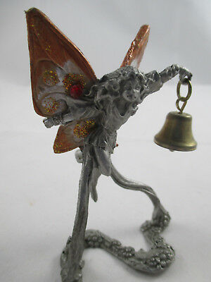 Rawcliffe Pewter  FAIRY with Brass Bell - Great for Fairy Garden 1996