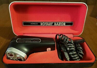 Vintage Norelco HP 1121 Rotary Razor Electric Shaver w/ Case & Original Brush