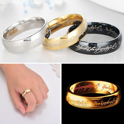 nEW Hobbit Lord of the Rings Elvish Rune Engraving Ring Band Gold Silver Black