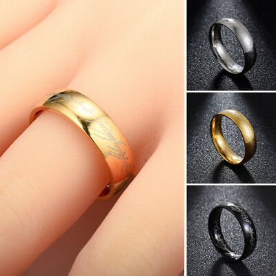 New Gold Silver Black Hobbit Lord of the Rings Elvish Rune Engraving Ring Band