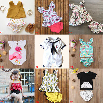 2Pcs Newborn Infant Baby Girl Boy Sleeveless Romper Tops+PP Pant Outfits Clothes