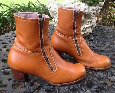 Vintage Ladies Retro All Leather Hand Made Ankle Dress Jean Boots Size 10 VGC