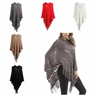 Fashion Women Ladies Knitted Warm Cape Poncho Pullover Shawl With Tassel Fringe