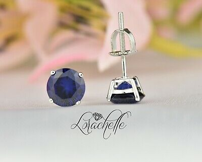 2.0 ct Round Cut Blue Sapphire Screw Back Earring Studs 14K White Gold
