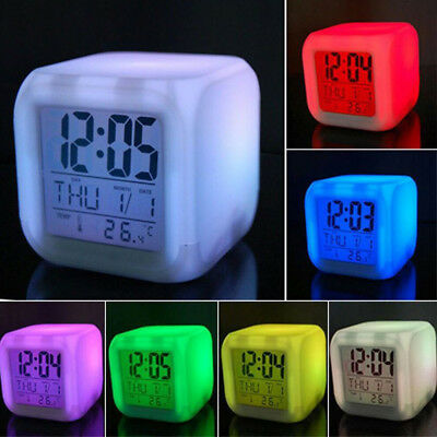Kids 7 Color LED Change Digital Glowing Alarm Clock Portable Home Bedroom