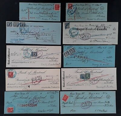 SCARCE 1920s-30s Canada lot of  10 Bank Cheques with Excise stamps Affixed Used