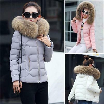 Women Jacket Lady Quilted Padded Puffer Fur Collar Winter Warm Casual Short Coat