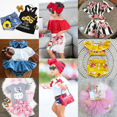 AU Canis Toddler Kids Baby Girls Floral Off Shoulder Tops Shorts Skirts Outfits