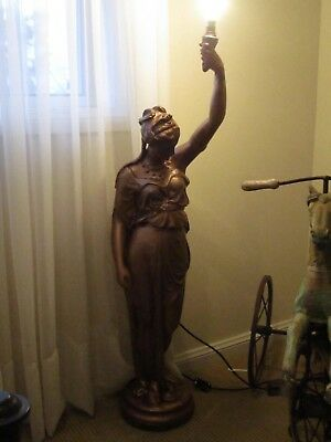 Beautiful Vintage Bronze Girl Light/lamp/statute/torch bearer
