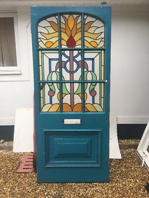 Large Stained Glass Victorian Front Door Period Old Reclaimed Antique Lead Rare