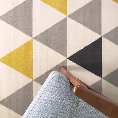 NEW Living Room Rug Mat Mustard Yellow Ochre Grey Cream Abstract Diamond Modern
