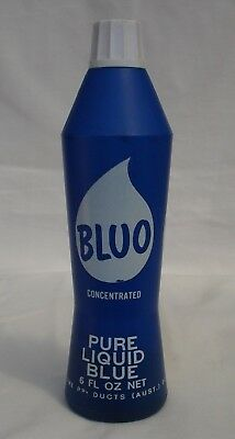 Vintage 1960s Bluo Plastic Bottle 6 Fl Oz Net
