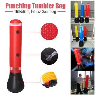 160CM  Home Gym Boxing Bag Target Free Standing Punching Tumbler Dummy Kick EC