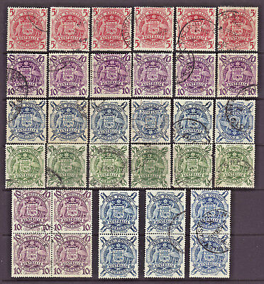 1949 Collection of 27 + pairs & block of 4 x Coat of Arms used