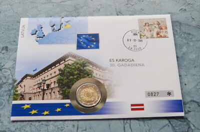 Lettland   2 Euro 2015 , Numisbrief *** 30 Jahre Europaflagge