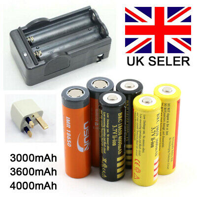 BRC 18650 3.7V 3600mAh Rechargeable Li-ion Lithium Button Top Battery Charger UK