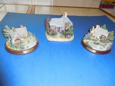 Thomas Kinkade Lighted Battery Operated Cottages- Everett's, Heather's, Quiet Ev