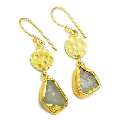 Crystal Gemstone Hammered Handmade 22K Yellow Gold Plated Unique Earrings Jewelr