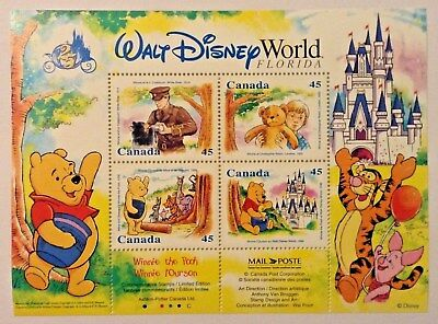 CANADA Winnie the Pooh Disney World Florida - Sheet 4x45 Cent Stamps NMH