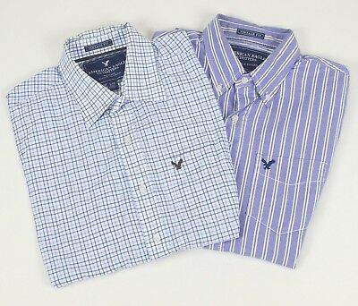 Lot of 2 American Eagle Vintage Fit Oxford Button-down Shirts Large Medium Shirt