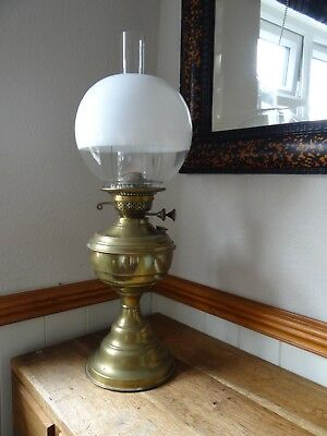 Antique Brass Oil Lamp Twin Burner In Working Condition