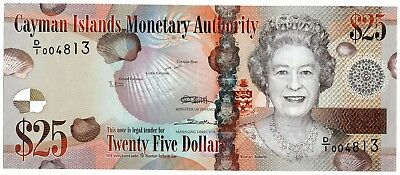 CAYMAN ISLANDS $25 Dollars 2010 P41 aUNC Banknote