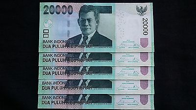 INDONESIA 20000 Rupiah 2014 x 5 P151d - run of 5 UNC Banknotes