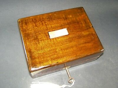Antique Mahogany Box Working Lock & Key C 1890  Mother Of Pearl Center Piece