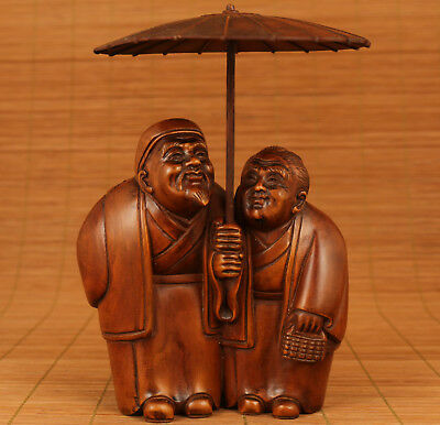 Rare Big 20th chinese old boxwood hand carving Sacred love  statue Figure