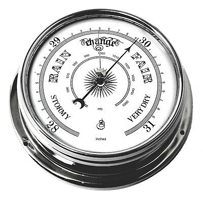 Tabic Barometer, Chrome Plated Brass Weighs 1/2kg, Handmade in England