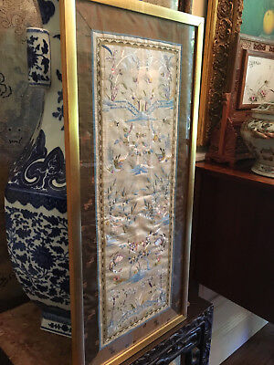 A Pair Excellent Chinese Antique Textile Sleeve Bands, Framed #2.
