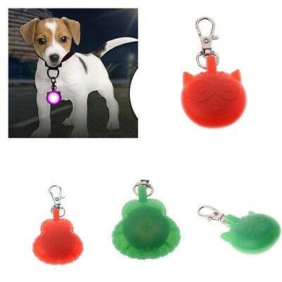 LED Light Up Cute Dog Pet Night Safety Bright Flashing Collar Keychain ID Tags