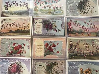 Lot of 21 Language of Flowers ~Flower Meanings~Victorian Greetings Postcards-a20