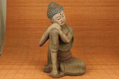 Qing Dynasty 20th chinese Old Wood Hnad Carved Think Buddha Big Statue Figure