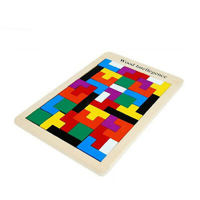 Colorful Wooden Tangram Brain Teaser Puzzle Tetris Game Children Wood Toy