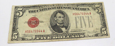1928 $5 Five Dollar United States Note (USN), Large Red Seal