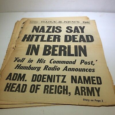 May 2,1945 NY Daily News newspaper Nazi Hitler Dead Archives