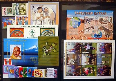 MONGOLIA 2001 to 2014 - 10 Sets & 6 M/Sheets Cat £150 U/M on 2 Pages NJ844