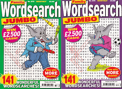 Wordsearch Puzzle Book - 2 Book Set - 282 Puzzles - Set 202 - Family Jumbo