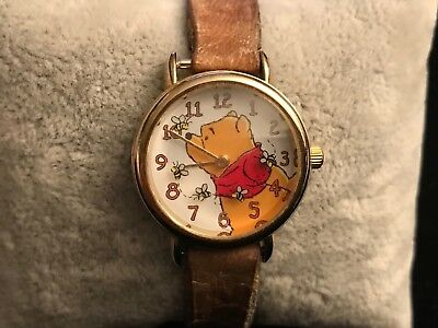 WINNIE THE POOH Timex Watch Rotating Floating Bees Leather Band Parts/Repair