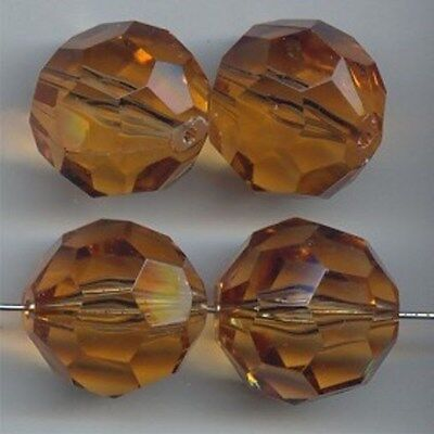 12 VINTAGE SMOKED TOPAZ ACRYLIC 14mm. ROUND FACETED BEADS 5460