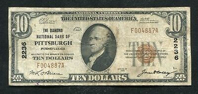 1929 $10 Diamond National Bank Of Pittsburgh, Pa National Currency Ch. #2236