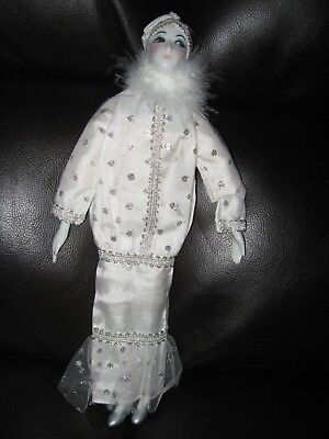 """Vintage Roaring 20's Flapper 14"""" Porcelain Collectible Doll with Satin Dress"""