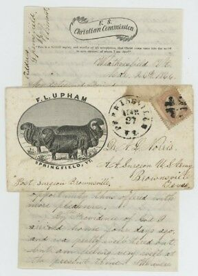 Mr Fancy Cancel 65 CIVIL WAR AD COVER SHEEP TO SOLDIER IN TEXAS WITH LONG LETTER