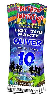 BIRTHDAY PARTY INVITATIONS Hot Tub Blues Personalised Ticket Style