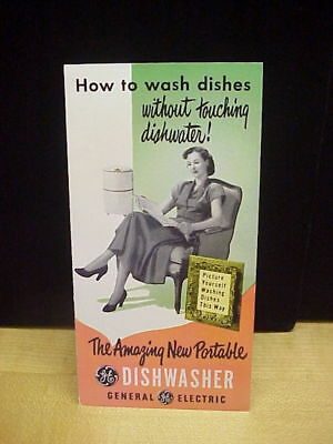 Vintage GE General Electric Amazing New Portable Dishwasher Brochure c 1950's