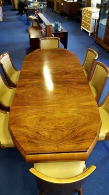 Superb Art Deco Hille 8 seater Figured  Walnut  Macassar Dining Suite c 1925-35