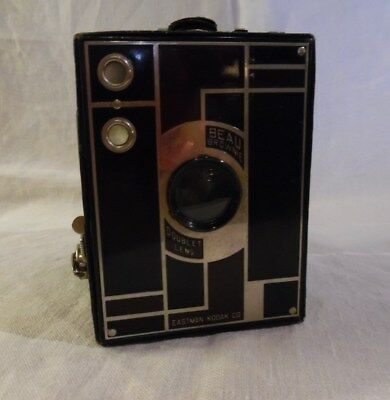 Vintage Kodak No.2 Beau Brownie Box Black/Maroon Camera 1930's
